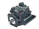 Axial and piston hydraulic pumps of a series