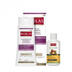 Шампунь для объема волос Unice Bioblas с коллагеном и кератином, Набор 360+150 мл