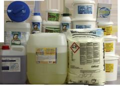 Химия для бассейнов: хлор, альгицид, Ph минус,