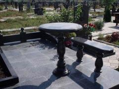 Tombstones, flower beds, supports, vases, tables