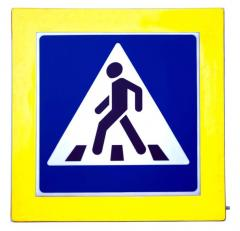 """The highlighted road sign """"Crosswalk"""