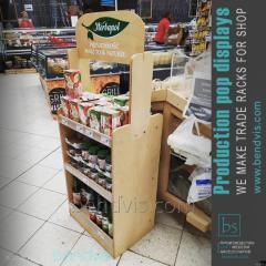 Élelmiszeripari termékek értékesítési állványai forgácslapból