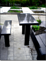 Tables and benches in the cemetery