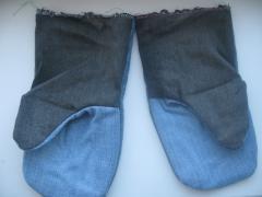 Рукавицы джинсовые с брезентовым наладонником