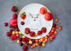 Тарелка здивований кіт оригинальный подарок на