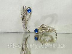 Нежные сережки из серебра с синим и белыми...