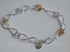Подарок для девушки - браслет с позолоченными