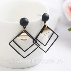Квадратные женские сережки - черные