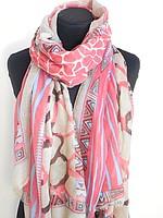 Шарф - шаль с орнаментом в розовых оттенках  Код