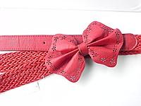 Пояс с бантиком   Пояс кожаный в красном цвете. В