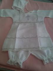 Baptismal set with embroidery (cap, the dress