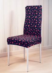 Чехол на стул цвет темно синий с розами ZaKo