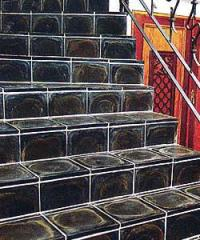 Basalt tile for a floor, steps
