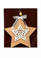 Декоративное украшение-подвеска Звезда бежевый