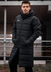 Зимний удлиненный мужской пуховик Under черный