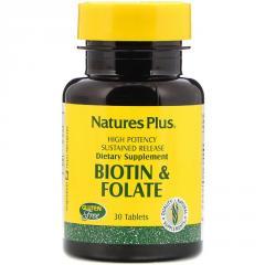 Биотин и Фолиевая кислота,  Nature's Plus, ...