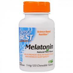 Мелатонин 5мг,  Мятный вкус,  Doctor's Best,...