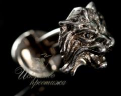 Золотые запонки в форме головы льва