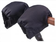 Муфта Варежки Умка на коляску. Цвет черные (флис