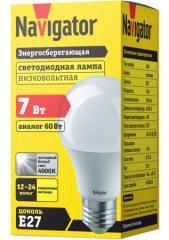 Лампа светодиодная низковольтная А60 12-24В 7Вт 4000 К Е27