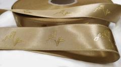 Атласные ленты 20 мм золото с печатью вспененной