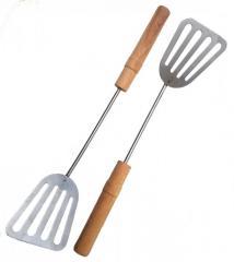 Лопатка кухонная из нержавейки с деревянной