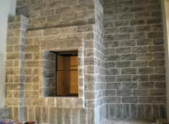 Fireplace from salt blocks