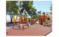 Rubber floor covering for playgrounds
