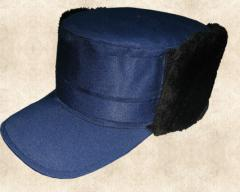 Кепка зимняя тк. гретта синяя/черная