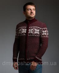 Бордовый мужской свитер на молнии с классическим