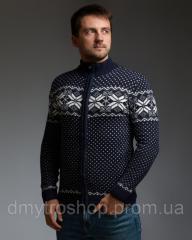 Темно-синий мужской свитер на молнии с
