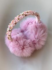 Меховые наушники вышитые розовые ручная...