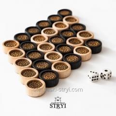 Деревянные фишки и кубики из бильярдного шара для нард, шашек, арт.FK-01
