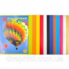 Картон цветной, 12 листов А4 (10 цв+бел,черн)