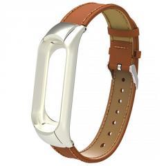 Ремешок Leather Strap для Xiaomi Mi Band 3 / 4