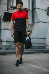 Костюм Футболка Поло черная-красная + Шорты....