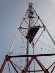Metalwork of a television tower.