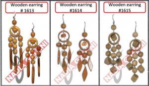 Wooden earrings, costume jewelry tree