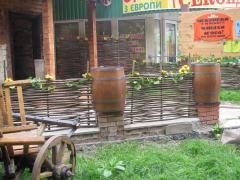 Wattled fence, Ukrainian tyn. Garden furniture