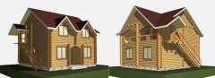 Guest houses from the rounded log under the order,