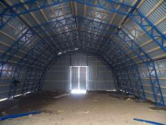 Construction of canopies, warehouses for finished