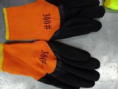 Перчатки вязаные утепленные с нитрильным покрытием