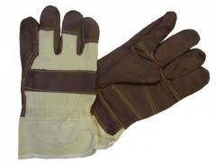Перчатки кожаные комбинированные (светл.кожа)