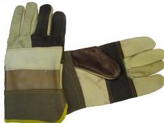 Перчатки кожаные рабочие комбинированные