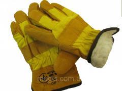 Перчатки комбинированные с мехподкладкой