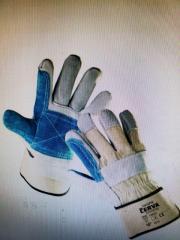Перчатки с крагами комбинированные со спилковыми