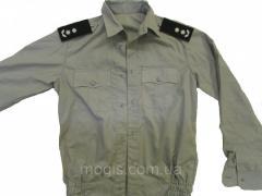 Рубашка форменная серая с длинным рукавом под