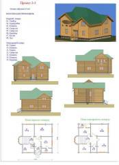 Дом деревянный жилой. Проект 2-3