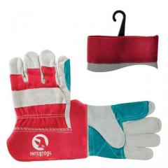 Перчатка замшевая из цельного материала c уплотняющей нашивкой на ладони и пальцах с красными коттоновыми вставками 10.5