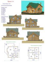 Дом жилой деревянный. Проект 2-4